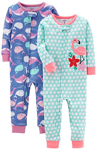 Carter's Girls' 2-Pack Cotton Footless Pajamas, Whale/Flamingo, 3T