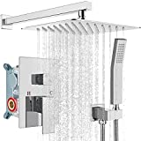 Rainfall 10 inch Shower System Bathroom Luxury Rain Mixer Silver Shower Combo Set Wall Mounted Shower Head Systems with High Pressure Head Hand Held Square Shower Head Polished Chrome Rough-in Valve