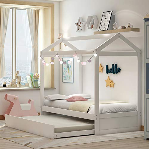 House Bed Twin Size Kids Bed Frame with Trundle for Boys & Girls,Toddlers,Solid Wood Twin Daybed Frame with Roof for Bedroom,Tent Bedroom Furniture Comfort & Safe,Ship from USA Warehouse