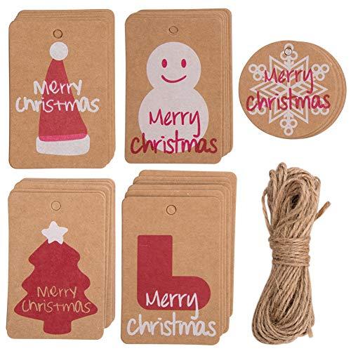 50 Piezas Etiquetas de regalo Navidad Papel Kraft Etiquetas con 32.8 FT Yute Twine String, Etiquetas de Regalos 5 diseños Christma imprimibles para bricolaje Navidad Holiday Wrap de regalo Bolsas (50)