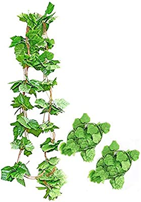 HASTHIP® Artificial Flowers Vine with Leaves Hanging Plants Silk Greenery Garland Decorations for Home Kitchen Party Wall Outdoor Garden Decor (Pack of 5 Strings)(8.2 FEET Each)