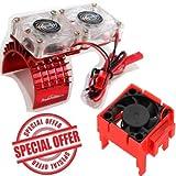 Powerhobby Traxxas Slash 4x4 Motor Cooling Fan/HeatSink Dual Twin Fan + Velineon VXL-3s ESC Cooling Fan Combo RED