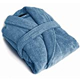 PimpamTex – Albornoz Unisex 100% Algodón con Cuello Tipo Smoking para Hombre y Mujer - (Talla L, Azul AZAFATA)