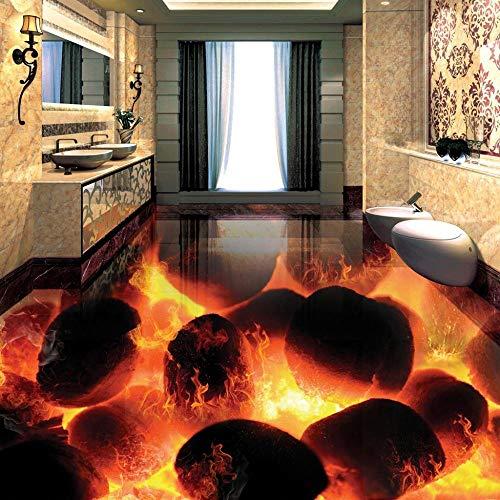 Murales de suelo 3D personalizados Piedras estéreo 3D Llama Dormitorio Sala de estar Autoadhesivo Impermeable Azulejos de suelo 3D Fresco Wallpaper-350 * 245cm