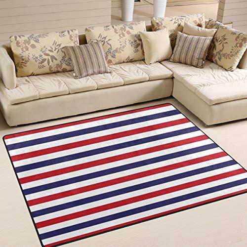 Emoya Teppich, Rot / Weiß / Blau gestreift, ultraweich, rutschfest, für Innenbereich, für Zuhause, Schlafzimmer, Schlafsaal, rechteckig, 120 x 160 cm, Textil, multi, 120x160cm (4' x 5'feet)