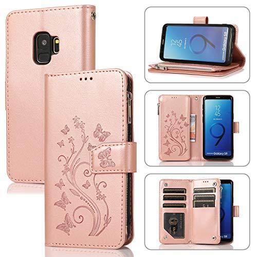 UEEBAI Handyhülle für Samsung Galaxy S9, PU Leder Flip Hülle 3D Reliefprägung Butterfly Retro Reißverschluss TPU Klapphülle Kartenfach Standfunktion Geldbörse mit Handschlaufe - Rose Gold
