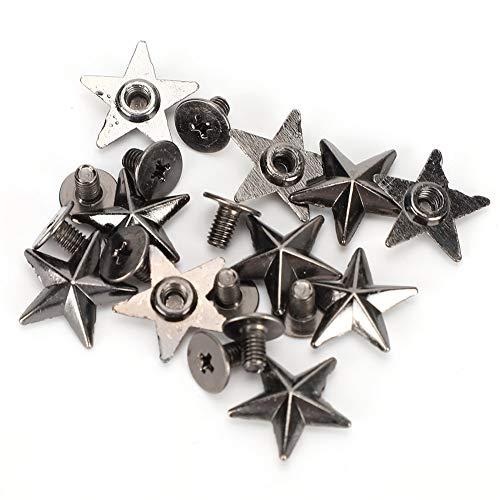 30 juegos de remaches de estrella de aleación de zinc con tornillo de 14 mm, tachuelas y picos de estrella de Metal, artesanía de cuero, bricolaje para bolsos de zapatos(Color de la pistola)
