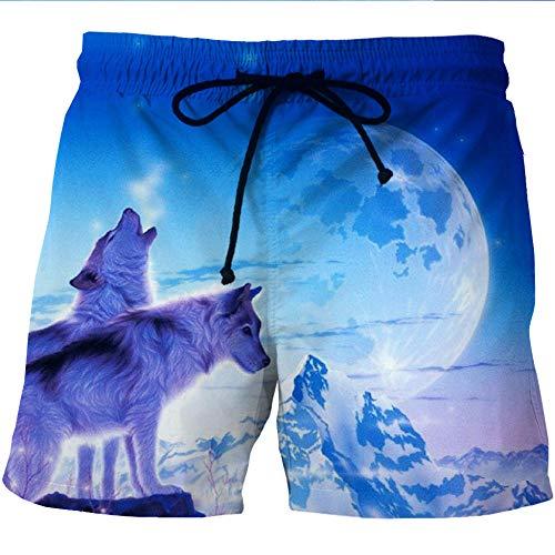 HOHHJFGG Snow Mountain Night View Wolf Pantalones Cortos de Playa para Hombre Pantalones Casuales de Verano 3D Pantalones Cortos de Playa de Secado rápido Pantalones de Playa de Surf