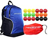 PowerNet 3.2' Softball Weighted Progressive Training Balls Bundle with Blue Backpack | Complete Set Heavy Ball 18 Pack 12 to 20 oz | Build Strength and Muscle | Enhance Hand-Eye Coordination