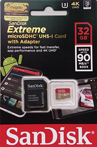 SanDisk Extreme 32 GB microSDHC Speicherkarte + SD-Adapter bis zu 90MB/Sek, Class 10, U3 , V30