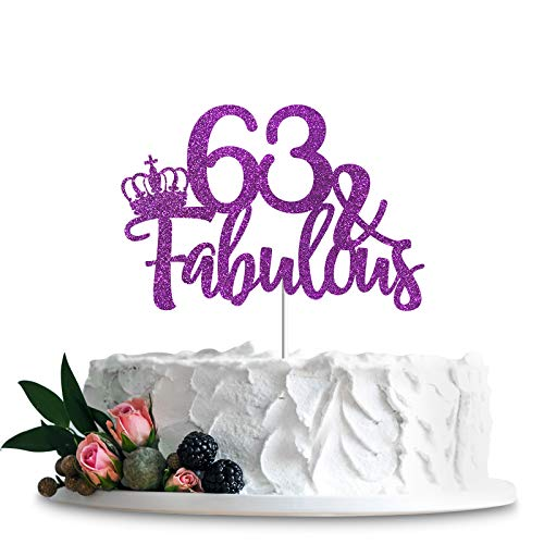 Purple Glittery 63 & Fabulous Cake Topper, Happy 63rd Birthday Cake Decor, Cheers to 63 Years Party Decorations Supplies (Purple, 63 & Fabulous)