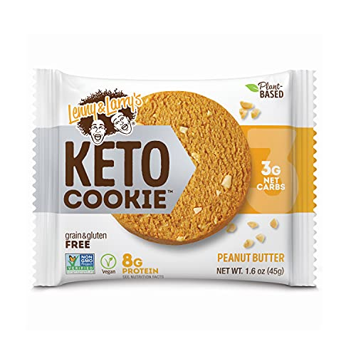 Lenny & Larry's Keto Cookie, Peanut Butter, Soft Baked, 8g Plant Protein, 3g Net Carbs, Vegan, Non-GMO, 1.6 Ounce Cookie (Pack of 12)