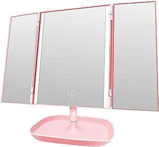 مرآة مكياج بإضاءة LED، مرآة مكياج مضيئة ثلاثية الطي، مرايا مكياج للسيدات 180 درجة دوران 10 مرات قاعدة زجاجية مكبرة بتصميم ...
