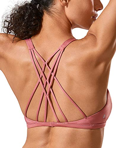 CRZ YOGA Donna Reggiseno Sportivo Yoga Imbottite Rimovibili Multi Strap Rosa Ciliegia L