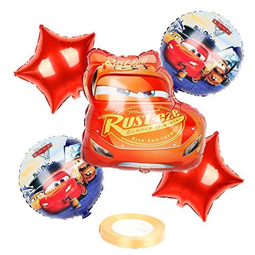 XIAOYAN Globos 6 unids Mcqueen Car Cumpleaños Pastel de Cumpleaños Balloons Baby Shower Fiesta Decoraciones Niños 18 Pulgadas Redondo Coche Helio Ballons Juguetes para niños ( Color : 1set )