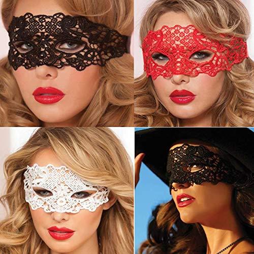 Dusenly 4 Pezzi Maschera in Costume mascherato Mezza Faccia Maschere in Pizzo Sexy per Uomo Donna Feste Vestito da Ballo Maschera di Halloween
