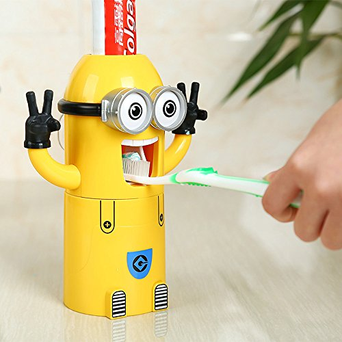 Vivisky, set con dispenser a muro per dentifricio e portaspazzolino, Minion con 2 occhi, distributore automatico di dentifricio Yellow