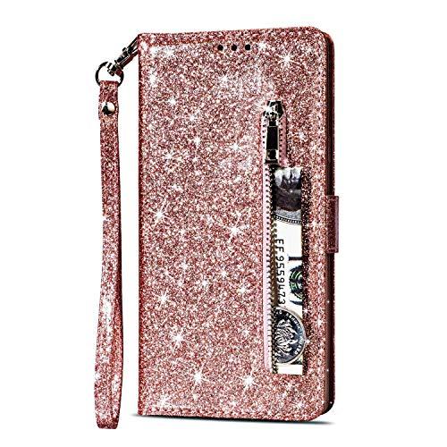 Yobby Glitzer Brieftasche Hülle für Samsung Galaxy S7, Samsung Galaxy S7 Roségold Handyhülle Bling Slim Reißverschluss Leder Schutzhülle Flipcase [Stand-Funktion] mit Kartenfach und Handschlaufe