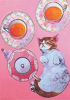 B4額付き! ティカップと猫 塚本禎子のダイヤモンドアート(KIC-tei21-1-210)/全面貼り付け(257mm*364mm)/四角型(Square)/ビーズアート 手芸キット