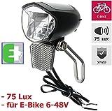 P4B Phare de vélo à LED 75 Lux pour vélo électrique - Capteur - StVZO - Noir