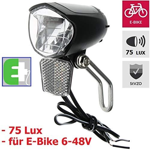 P4B | LED Scheinwerfer für Ihr E-Bike - 75 Lux | StVZO zugelassen | Ohne eigenen An/Aus Schalter | Mit NIRO-Halter | mit Standlicht