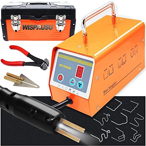WISPAUSU Plastic Welding Kit with 800PCS Staples/5-Levels Power/LED Display Light, 110V Car Bumper Hot Stapler Gun Plastic Welder Machine