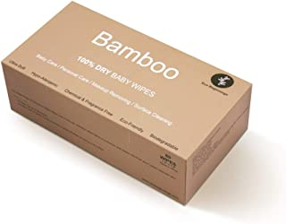 Natural 100% Bamboo Dry Baby Wipes, Use Dry or as Water Wipes, 80 Disposable Wipes in a Plastic-Free Box