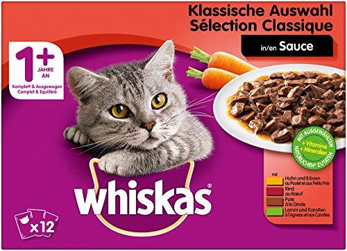 Whiskas Katzenfutter Nassfutter Adult 1+ Klassische Auswahl in Sauce, 12 Portionsbeutel (12 x 100g)