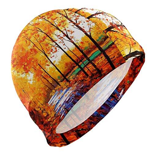 Tcerlcir Gorro Natación Pintura al óleo del Bosque de árboles de otoño Gorro de Piscina para Hombre y Mujer Hecho de Silicona Ideal para Pelo Largo y Corto