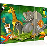 Runa Art Afrika Affen Bild Wandbilder Wohnzimmer XXL Junge Mädchen Kinderzimmer 120 x 80 cm 3 Teilig Wanddeko 001831a