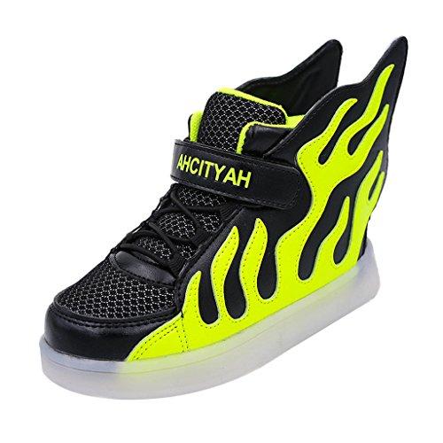 Skateboard Schuhe Flügel Turnschuhe Jungen Mädchen Wanderschuhe Schuhe mit LED Lichter blinken Schuhe - Schwarz Grün, 35