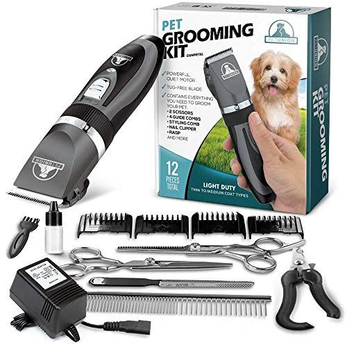 Pet Union Professional Dog Grooming Kit - Rechargeable, Cordless Pet Grooming Clippers & Complete Set of Dog Grooming Tools. Low Noise & Suitable for Dogs, Cats and Other Pets (Gunmetal)
