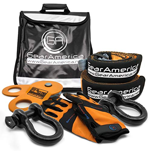 GearAmerica Off-Road Recovery Kit | Tow Strap + Tree Saver + Heavy Duty Snatch Block Pulley + Black D-Ring Shackles + Winch Line Dampener Bag + Recovery Gloves | Ultimate 4x4 Winching Accessories