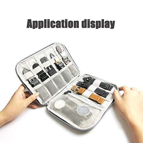 6SHINE Smart Watch Bands Reisetasche/Ordner, Organizer für Apple Watch Bands, Speichert 10 Riemen, Extra Tasche für zusätzliche Aufbewahrung - Grau, Schwarz