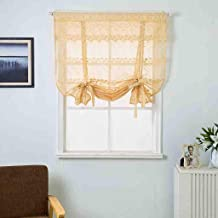 Roman Blind Lace Curtain,Roman Tie Up Curtain Floral Print Sheer Voile Window Valances and Shades Tulle Fabric Balloon Curtain Panels for Small Windows Decor Drapes and Curtains for Kitchen