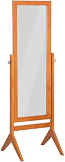 Giantex Bedroom Wooden Floor Mirror Full Length Cheval, 100% Solid Oak Wood Frame Rustic Rotary Swivel Mirrorred Stand Rectangular Mirrors, Free Standing Home Floor Dressing Mirror, Walnut