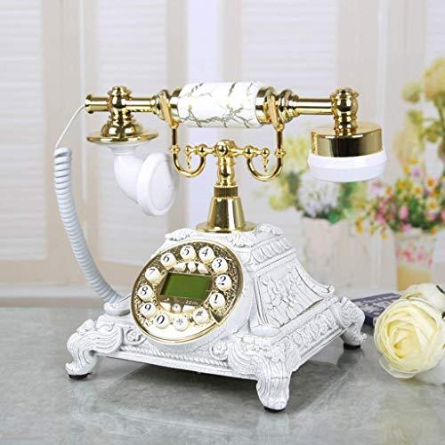 DFBGL Teléfono Vintage/teléfono Retro con Cuerpo de Madera y Metal, dial Giratorio Funcional Marcador de Escritorio clásico Diseñador Teléfono Retro/teléfono Giratorio/teléfono de