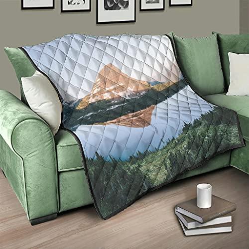 AXGM Colcha acolchada de montaña, árbol, lago, reflexión, paisaje, manta para el salón, manta cálida para el sofá, color blanco, 230 x 280 cm