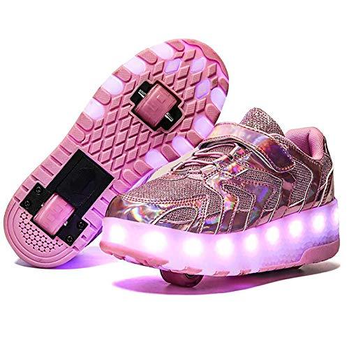 WANGT Zapatos de Roller,Led Luces USB Cargable Patines en Línea Ruedas Dobles Moda Running Zapatillas para Deportes de Exterior Niños Niña,Rosado,37