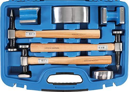 BGS 1672 | Karosserie-Ausbeul-Satz | 7-tlg | hochwertige Hickory-Holzstiele | Ausbeulhämmer | Ausbeuleisen