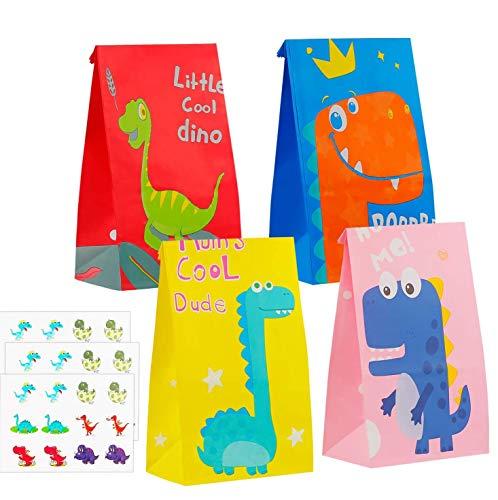 Colmanda Sac Cadeaux, 36 Pcs Sac de Bonbon avec Autocollant de Dinosaure, Sac de Bonbon de Dinosaure Pochettes Cadeaux, Sacs de Cadeau Fête pour Cadeaux de Noël, Mariage ou Anniversaire