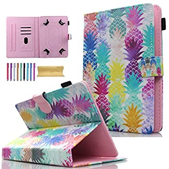 Universal 8.0  Tablet Case JANKS Wallet Stand Cover for iPad Mini 1 2 3 4 5/ Galaxy Tab E 8.0/ Tab A 8.0/ Fire HD 8/ Lenovo/RCA and More 7.0-8.5 inch Tablet, Colorful Pineapple