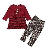 Comie Baby Girls Traje de una pieza Infant Baby Girls Ruffle Layered Vestido Leoparden Patrón Pantalones Outfits Set, no daña la piel de su bebé rojo 90 cm