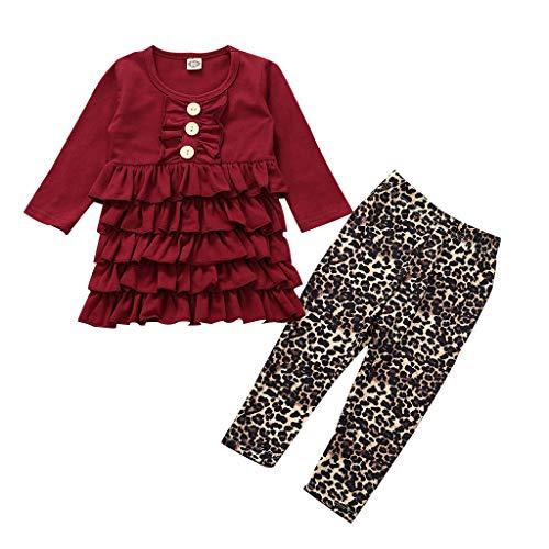 Kobay- Mädchen Infant Baby Mädchen Rüschen Layered Kleid Leopardenmuster Hosen Outfits Set Kinder Langarm Rüschen Kuchen Rock Leopardenhose Set (6M-3T) (120,3-4 Jahre, Rot)