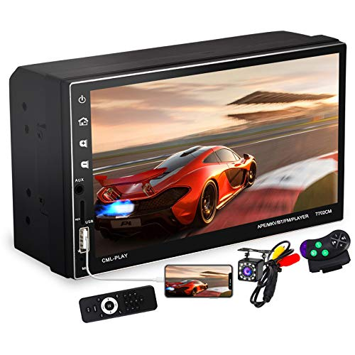 7 Inch Double Din Car Stereo with Capacitive Touchscreen and Bluetooth Handsfree, 2 Din FM Radio Receiver with Backup Camera, Phone Mirror Link, Voice Assistant, Steering Wheel Control