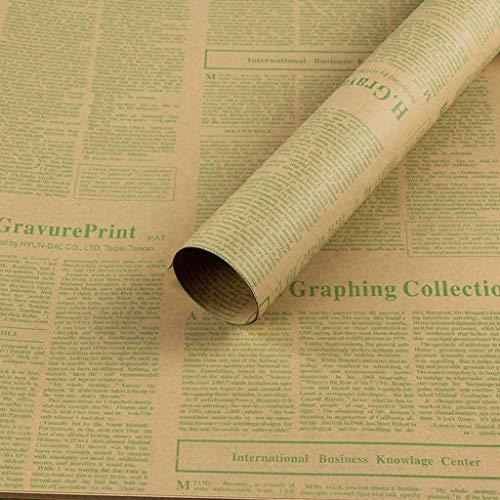 C-J-Xin Gift Wrapping Papier, Bloemen Tas Bloem Kraft Papier Vintage Engels Krant Inpakpapier Boek Decoratie Papier 50 * 70CM Dubbelzijdige Wrapper 50 * 70CM D