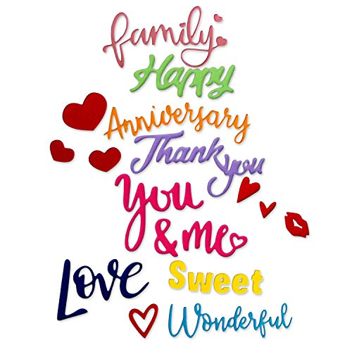 Crafting Dies Cutting Dies Words Love, Happy, Thank You, Wonderful, Family, Sweet, Anniversary
