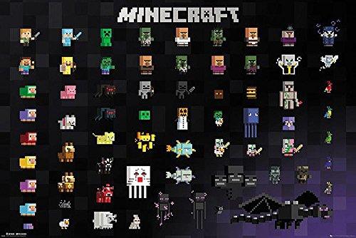 Close Up Minecraft Poster Pixel Sprites (91,5cm x 61cm) + 2 St. Schwarze Posterleisten mit Aufhängung