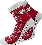 normani 4 Paar Baumwoll Socken im Schuh - Design Farbe Rot Größe 35/38