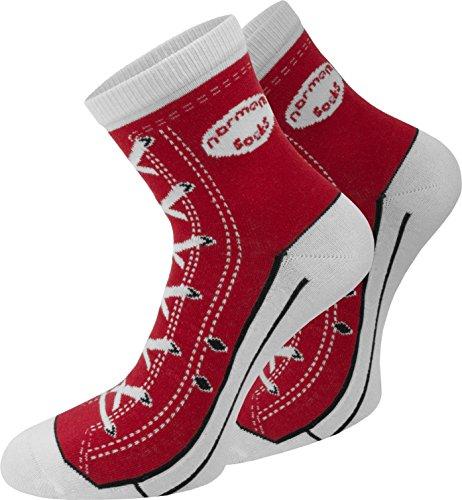 normani 4 Paar Baumwoll Socken im Schuh - Design Farbe Rot Größe 39/42
